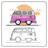 Vista lateral de los coches del verano stock de ilustración