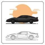 Vista lateral de los coches de superpoder stock de ilustración