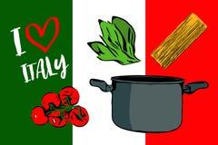 Vista lateral de los ingredientes de las pastas de la historieta en el fondo de los colores italianos de la bandera ilustración del vector
