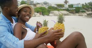 Vista lateral de los pares afroamericanos que obran recíprocamente con uno a en la playa 4k metrajes