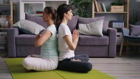 Vista lateral de los pares jovenes que meditan sentarse de nuevo a la parte posterior con las manos en namaste almacen de video