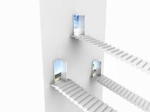 Vista lateral de três escadas brancas que vêm até aberto Ilustração Royalty Free