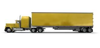 Vista lateral de um caminhão de reboque amarelo grande ilustração do vetor
