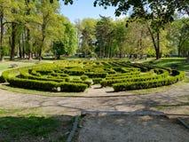 Vista lateral de un laberinto del seto del verde del parque de la ciudad fotografía de archivo