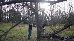 Vista lateral de un tronco de árbol que es trabajado encendido por el trabajador de construcción con la motosierra almacen de metraje de vídeo
