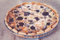 Vista lateral de una tarta de la seta con la carne y el queso de la carne de vaca Fotografía de archivo libre de regalías
