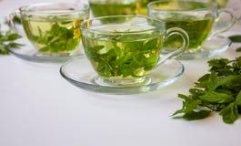Vista lateral de una taza de té de hierbas fresco orgánico sano foto de archivo