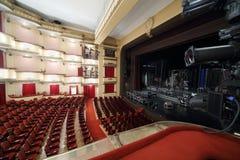 Vista lateral del auditorio y de la etapa en el teatro de Vakhtangov Foto de archivo