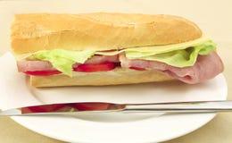 Vista lateral del baguette del jamón y del queso foto de archivo libre de regalías