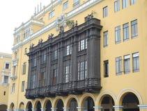 Vista lateral del balcón grande, Lima Perú Fotos de archivo libres de regalías