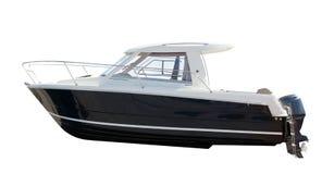 Vista lateral del barco de motor. Aislado sobre blanco Foto de archivo