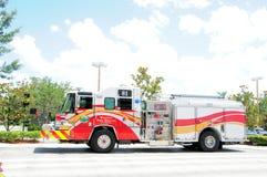Vista lateral del coche de bomberos, Weston, FL Fotografía de archivo
