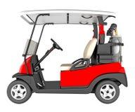 Vista lateral del coche del golf aislada en blanco representación 3d Imagen de archivo libre de regalías