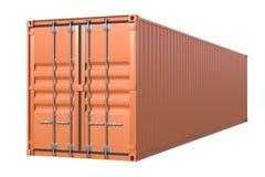 Vista lateral del contenedor para mercancías de la nave de Brown 40 pies de longitud ilustración del vector