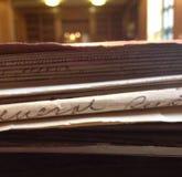 Vista lateral del fichero real de un uso de la pensión de la guerra civil foto de archivo libre de regalías