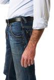 Vista lateral del hombres en pantalones de los vaqueros Foto de archivo