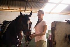 Vista lateral del jinete de sexo femenino que frota ligeramente el caballo foto de archivo