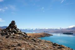 Vista lateral del lago new Zealand foto de archivo libre de regalías