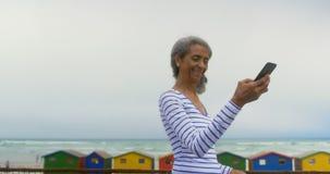 Vista lateral del selfie que habla de la mujer afroamericana mayor activa con el teléfono móvil en la 'promenade' 4k almacen de metraje de vídeo