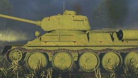 Vista lateral del tanque T 34 rusos viejos ilustración del vector