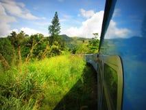 Vista lateral del tren en rural con los couds Fotografía de archivo