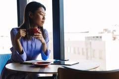 Vista lateral do café bebendo da mulher de negócios Imagem de Stock Royalty Free