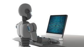 A vista lateral do robô que usa um computador com dados binários numera o código ilustração royalty free