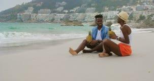 Vista lateral do suco de abacaxi bebendo dos pares afro-americanos na praia 4k filme