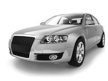 Vista lateral inferior de Audi de prata A6 com sombra ilustração do vetor