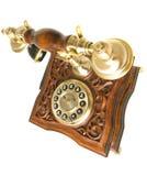 Vista lateral superior do telefone velho imagem de stock