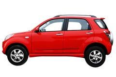 Vista laterale af un'automobile moderna rossa Immagini Stock Libere da Diritti