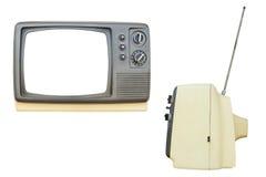 Vista laterale anteriore e dell'annata TV isolata su fondo bianco Fotografia Stock