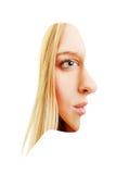 Vista laterale anteriore e di giovane donna bionda Fotografia Stock Libera da Diritti
