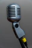 Vista laterale d'argento metallica del microfono vocale dinamico classico Immagine Stock Libera da Diritti