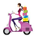 Vista laterale del motorino di guida della donna royalty illustrazione gratis