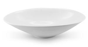 Vista laterale del piatto del piatto della sfera su fondo bianco Fotografie Stock