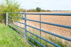 Vista laterale del portone chiuso del metallo del terreno coltivabile in Inghilterra Fotografie Stock Libere da Diritti