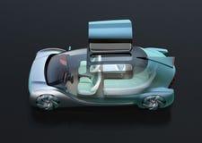 Vista laterale dell'auto trasparente che conduce automobile elettrica su fondo nero royalty illustrazione gratis