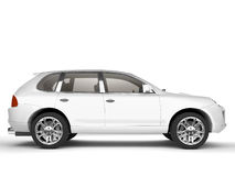 Vista laterale dell'automobile bianca multiuso Fotografia Stock Libera da Diritti