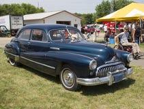 1947 vista laterale dell'automobile nera di Buick otto Immagine Stock Libera da Diritti