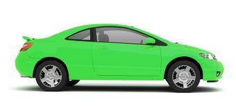 Vista laterale dell'automobile verde compatta Fotografia Stock Libera da Diritti