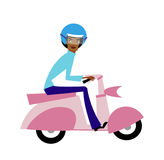 Vista laterale dell'uomo sul motorino royalty illustrazione gratis
