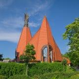 Vista laterale della chiesa luterana di Siofok, Ungheria Fotografia Stock