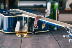 Vista laterale della chitarra Fotografia Stock Libera da Diritti