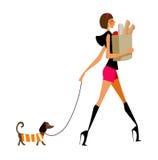 Vista laterale della donna che cammina con il cane illustrazione vettoriale
