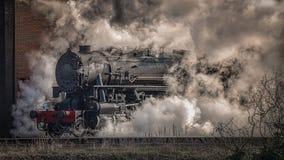Vista laterale della locomotiva a vapore Fotografie Stock