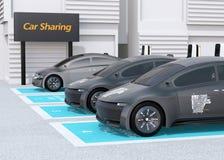 Vista laterale delle automobili elettriche che parcheggiano nel parcheggio di car sharing soltanto Illustrazione di Stock