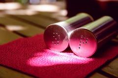 Vista laterale delle bottiglie del pepe e del sale Immagini Stock Libere da Diritti