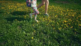 Vista laterale delle gambe del bambino e della giovane donna che camminano sui denti di leone gialli archivi video