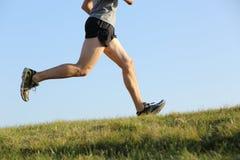 Vista laterale delle gambe di un pareggiatore che corrono sull'erba fotografia stock